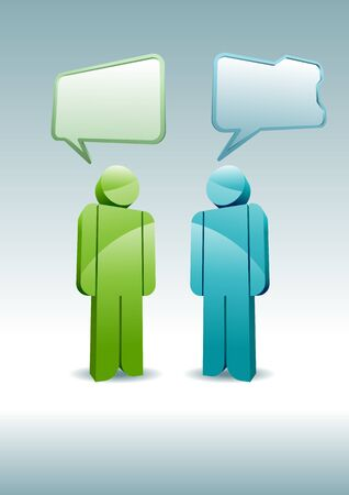 Two 3D characters having a discussion. Stock Vector - 18921801