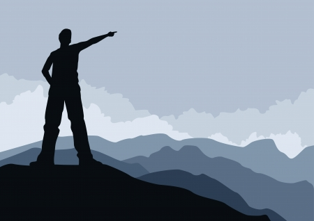 people hiking: Young man pointing on mountain peak illustration  Elements are layered separately  Illustration