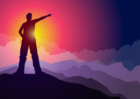 man pointing: Young man pointing on mountain peak illustration  Elements are layered separately  Illustration