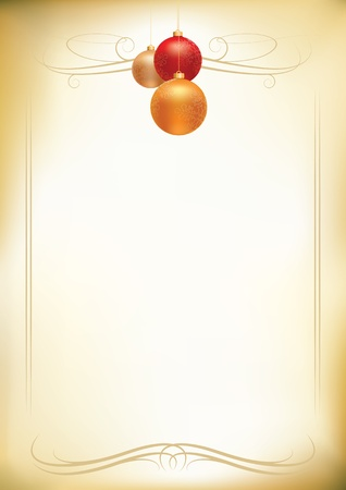 christmas balls on old paper background  Stock Vector - 18922930