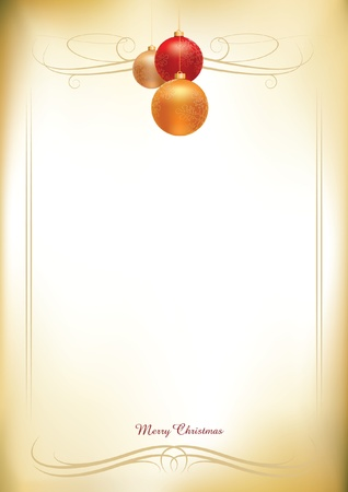 christmas balls on old paper background Stock Vector - 18922935