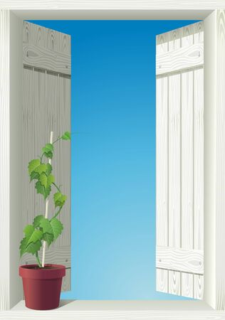 window and sky  detailed isolated illustration Vector