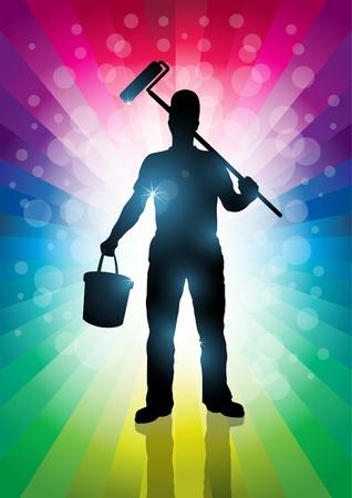 decorando: Maestro Elementos ilustraci�n pintor se acodan por separado