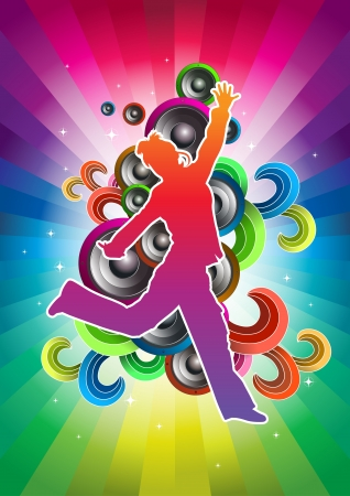 Jumping girl  Abstract music concept Vector