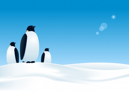 background antarctica: three penguins waiting  All elements layered separately in file  mesh used  Illustration