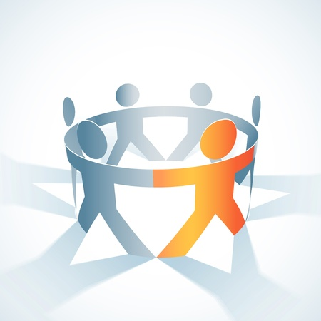 diverse business team: togetherness concept illustration  People symbol chain
