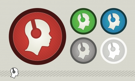 headphone symbol set illustration  Vector