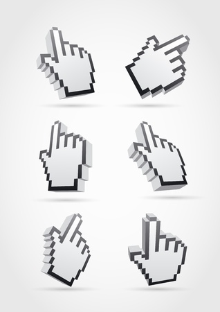 3d cursor hand collection  Hands, shadows and background are separated layers Stock Vector - 18923156