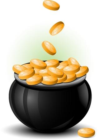 pot of gold: St  Patrick Day pot of gold Illustration