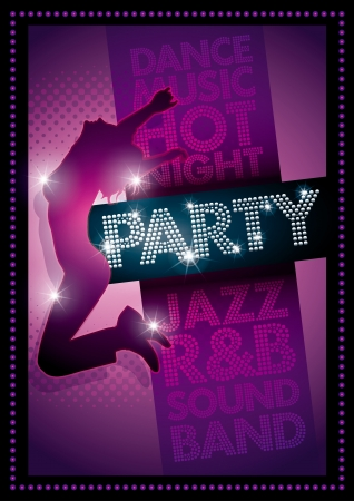 dancing club: Purple Party poster Template