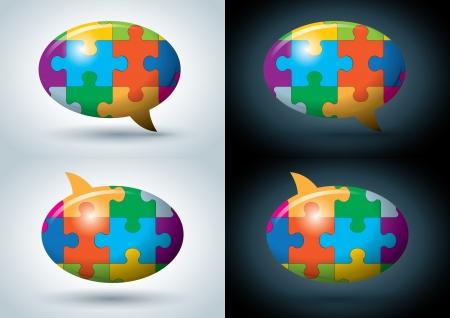 puzzle speech balloon illustration set  Illustration