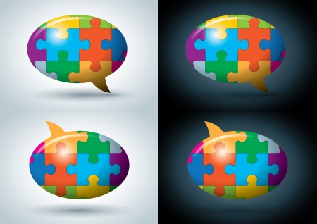 communication metaphor: puzzle speech balloon illustration set  Illustration