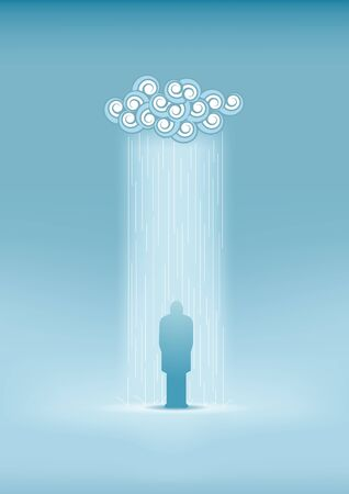 man standing alone: Lonely man in the rain  Illustration