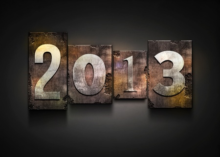 The word  2013   Random letterpress type on grunge background  Stock Photo - 18996366