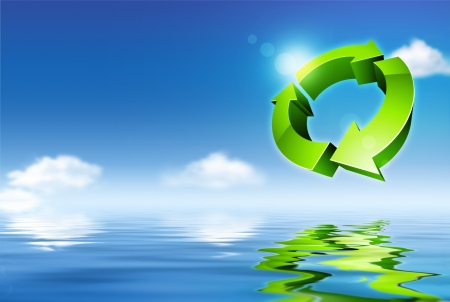 green to water: environmental concept  digitally generated illustration  Stock Photo