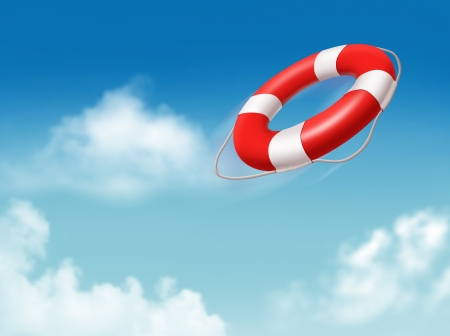 life ring: Buoy on the blue sky