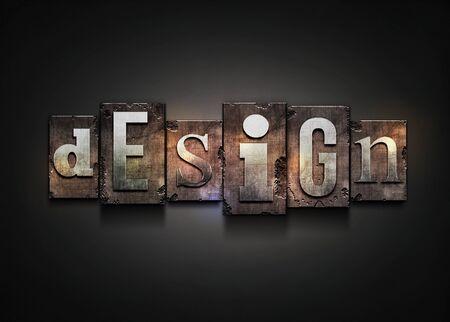 letterpress words: The word  design   Random letterpress type on grunge background