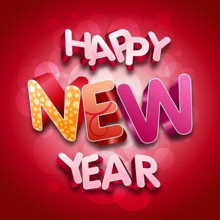 year 3d: Happy New Year. 3d text.