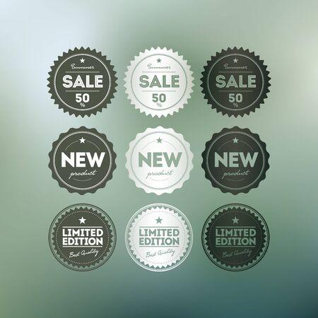 Vector retro badge collection.Vaus badges on mesh defocus background. Stock Vector - 18994572