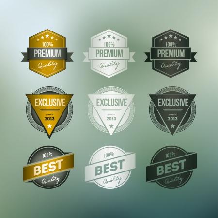 defocus: Vector retro badge collection Various badges on mesh defocus background  Illustration