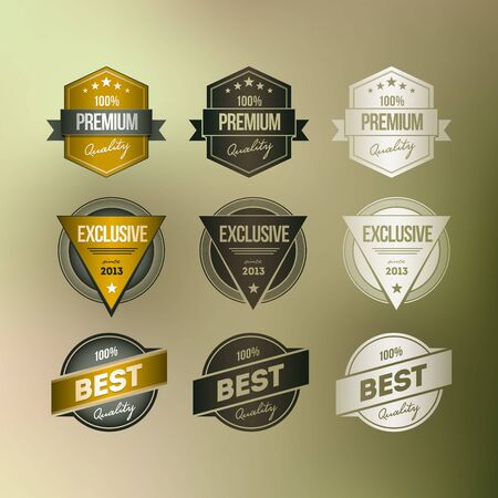 Vector retro badge collection Various badges on mesh defocus background Stock Vector - 18994531