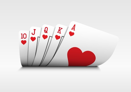 poker hand: Royal flush playing cards poker hand on white background