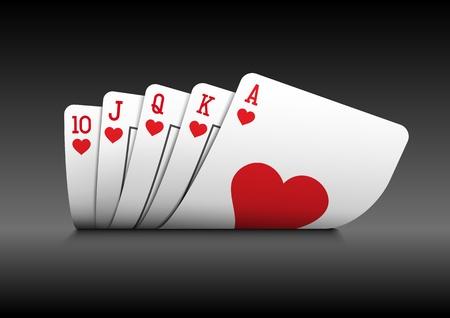 poker hand: Royal flush playing cards poker hand on black background  Illustration