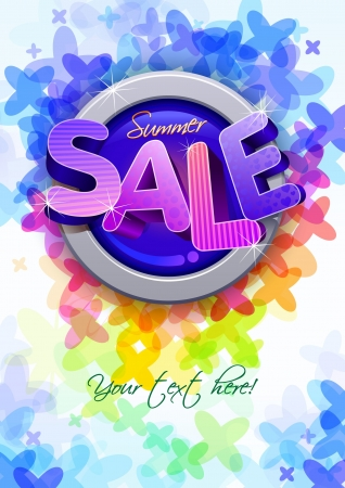 3d summer sale poster design template Vector