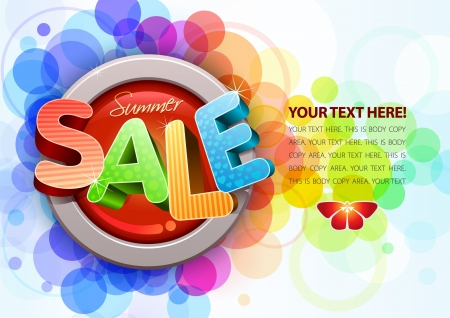 sale tag: 3d summer sale design template Illustration