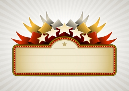 Ribbon star banner. All elements are layered separately in vector file. Easy editable. Vector