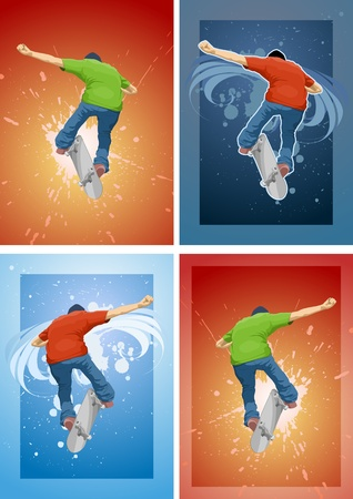Skateboarder doing a trick on different backgrounds. Vector