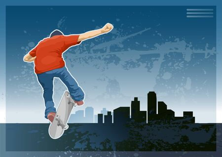 Skate boarder doing a trick on the city silhouette.