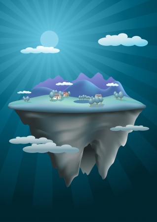 floating island: Vector illustration floating island. Mesh used. Elements are layered separately in vector file. Illustration