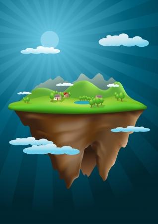 isla flotante: Vector ilustraci�n isla flotante. Malla utilizada. Los elementos se acodan por separado en archivo vectorial.