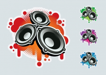 Speaker symbol set  CMYK colors  Elements are layered separately in vector file  Easy editable graphics  Stock Vector - 18994639