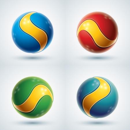 3d ball: 3d abstract vector design element set