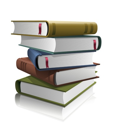 novel: Stack of books  Vector illustration  All books are layered separately in vector file