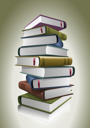 encyclopedias: Stack of books  Vector illustration  All books are layered and grouped separately in vector file