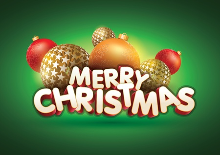 Vector abstract Merry Christmas composition  All elements are grouped and layered in vector file