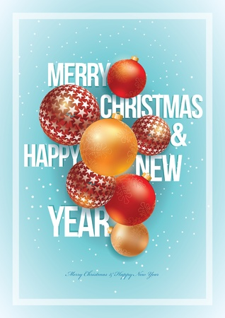 Vector Christmas and New Year design template. For christmas party poster, greeting card or flyer. All elements are grouped and layered in vector file. Stock Vector - 18994523