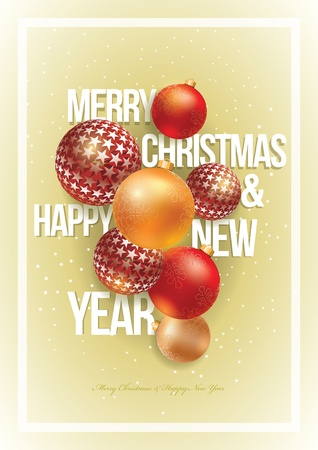 Vector Christmas and New Year design template. For christmas party poster, greeting card or flyer. All elements are grouped and layered in vector file. Stock Vector - 18994529