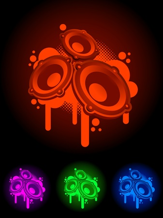 neon speaker symbol. Easy editable vector illustration. Stock Vector - 18994675