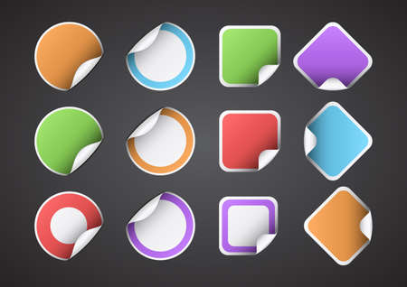 Set of 12 vector stickers for your text. Stock Vector - 18994588