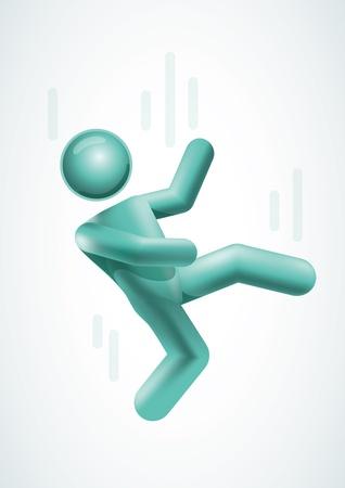 Hombre 3d vector cayendo. Los elementos se acodan por separado en archivo vectorial.