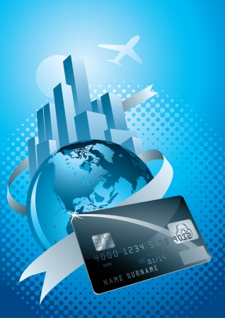 world, credit card, city and flight Vector