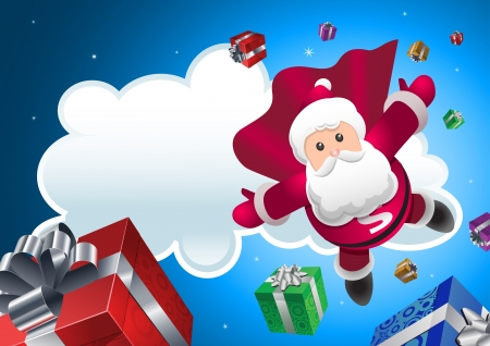 cartoon wind: Super Santa Claus coming from sky with christmas presents Illustration