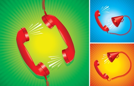 ear phones: phone handset and megaphone  vicious circle  Three different alternatives