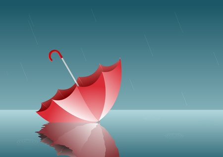 reverse: lonely umbrella  All elements are layered sepeately in vector file  Illustration