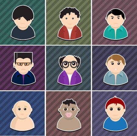 empleados trabajando: Vector personas diferentes elementos Icon Set se acodan por separado en archivo vectorial editable fácil