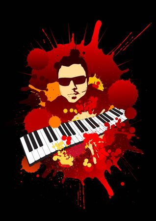grunge musician portrait with keyboard Vector